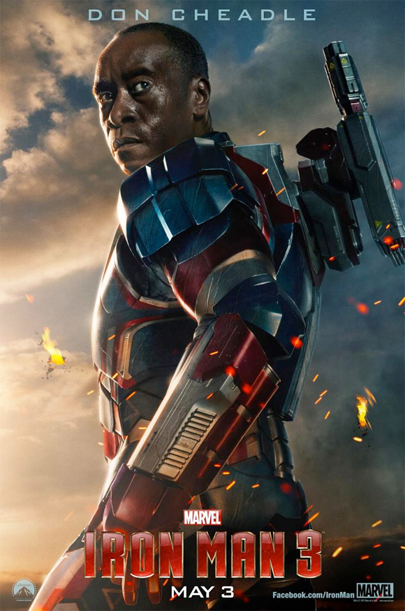 Don Cheadle in the Iron Patriot armour in Iron Man 3. Could he be the protagonist in Iron Man 4?
