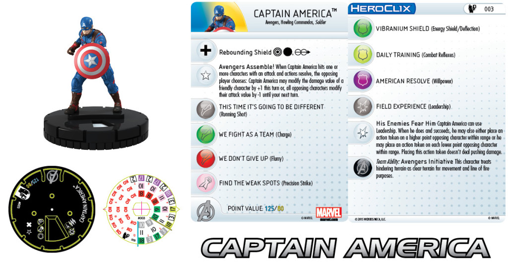Here's a detailed example of a HeroClix piece, one of the various versions of Captain America.