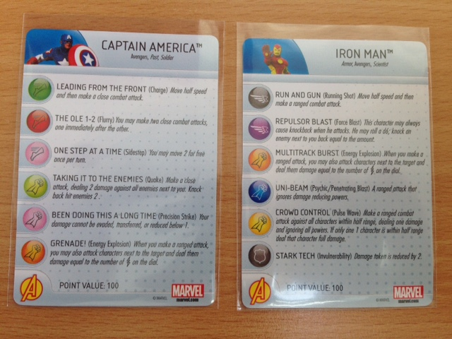 Here you can see one side of the ability cards for each character.