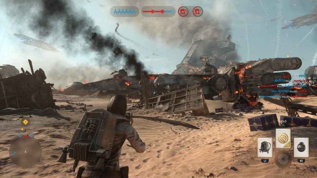 A crashed Corellian Corvette sits in the middle of the map, leaving players to go around or under it.